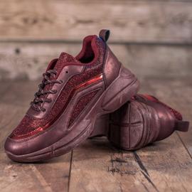 SHELOVET Błyszczące Buty Sportowe czerwone 3