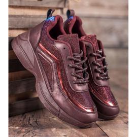 SHELOVET Błyszczące Buty Sportowe czerwone 4
