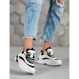 SHELOVET Sneakersy Fashion białe czarne 4