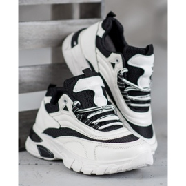 SHELOVET Sneakersy Fashion białe czarne 1