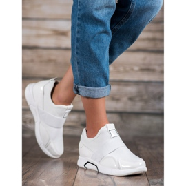 Ideal Shoes Wsuwane Trampki Fashion białe 5