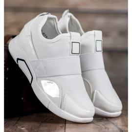 Ideal Shoes Wsuwane Trampki Fashion białe 3