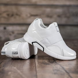 Ideal Shoes Wsuwane Trampki Fashion białe 4