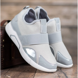 Ideal Shoes Wsuwane Trampki Fashion szare 2