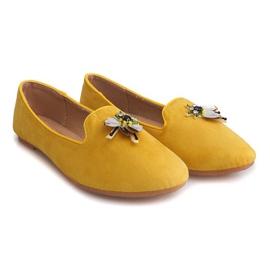 Zamszowe Balerinki Z Waszką 9988 Żółty żółte 3