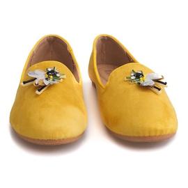 Zamszowe Balerinki Z Waszką 9988 Żółty żółte 1