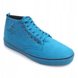 Stylowe Wysokie Trampki Y007 Błękitny niebieskie 1