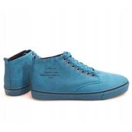 Stylowe Wysokie Trampki Y007 Błękitny niebieskie 2