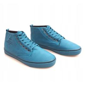 Stylowe Wysokie Trampki Y007 Błękitny niebieskie 3