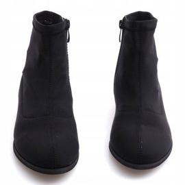 Eleganckie Materiałowe Botki 26003 Czarny czarne 3