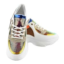 Białe damskie obuwie sportowe W-3117 wielokolorowe 3