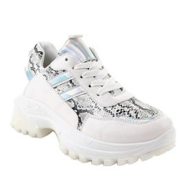 Białe stylowe obuwie sportowe 690051 wielokolorowe 1