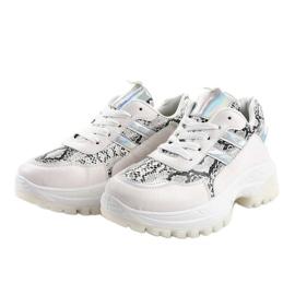 Białe stylowe obuwie sportowe 690051 wielokolorowe 2