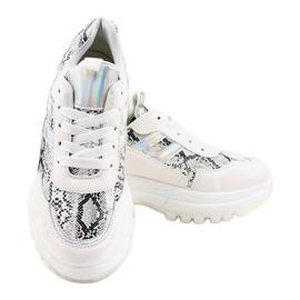 Białe stylowe obuwie sportowe 690051 wielokolorowe 3