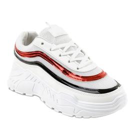Białe damskie buciki sportowe AA8 wielokolorowe 1