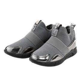 Szare obuwie sportowe z gumką SJ1836-3 2