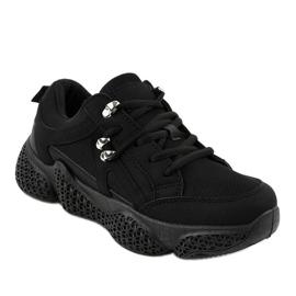 Czarne modne damskie obuwie sportowe BD-5 1