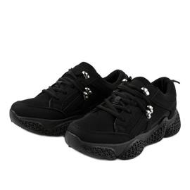 Czarne modne damskie obuwie sportowe BD-5 2