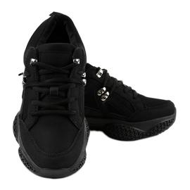 Czarne modne damskie obuwie sportowe BD-5 3