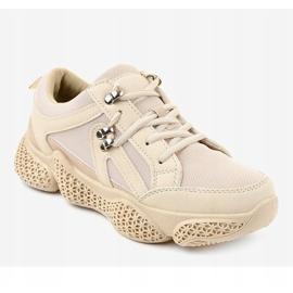 Beżowe modne damskie obuwie sportowe BD-5 beżowy 1