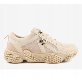 Beżowe modne damskie obuwie sportowe BD-5 beżowy 2