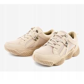 Beżowe modne damskie obuwie sportowe BD-5 beżowy 3