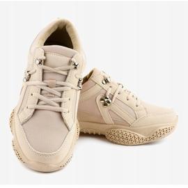 Beżowe modne damskie obuwie sportowe BD-5 beżowy 4