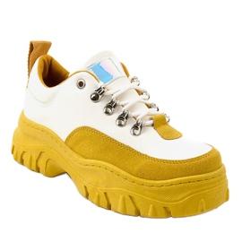 Biało-żółte modne damskie obuwie sportowe PF5329 białe 1