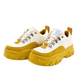 Biało-żółte modne damskie obuwie sportowe PF5329 białe 2