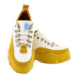 Biało-żółte modne damskie obuwie sportowe PF5329 białe 3