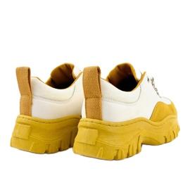 Biało-żółte modne damskie obuwie sportowe PF5329 białe 4