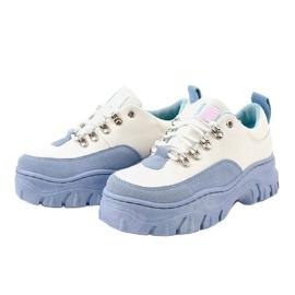 Biało-niebieskie damskie obuwie sportowe PF5329 białe 2