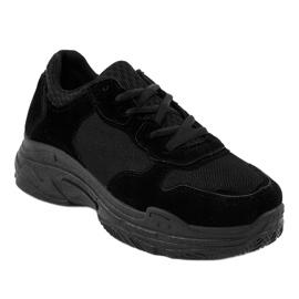 Czarne zamszowe obuwie sportowe damskie R-372 1
