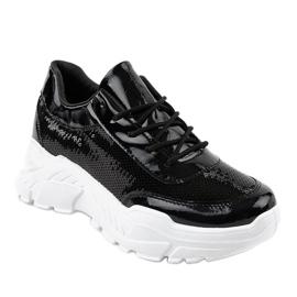 Czarne obuwie sportowe z cekinami W-3118 1