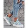 Ideal Shoes Sneakersy Z Brokatem niebieskie 2