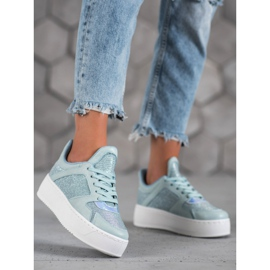 Ideal Shoes Sneakersy Z Brokatem niebieskie 3