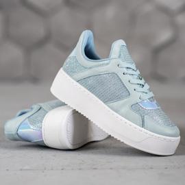 Ideal Shoes Sneakersy Z Brokatem niebieskie 1