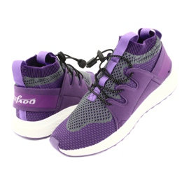 Befado obuwie dziecięce 516 fioletowe szare 4