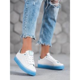 SHELOVET Białe Buty Sportowe niebieskie 4