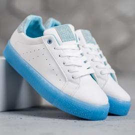 SHELOVET Białe Buty Sportowe niebieskie 2
