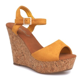Sandały Na Koturnie Korek 5H5654 Żółty żółte 1