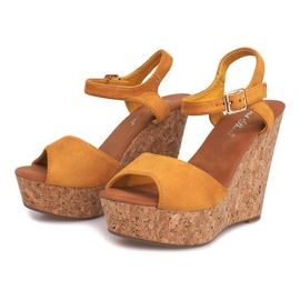Sandały Na Koturnie Korek 5H5654 Żółty żółte 3