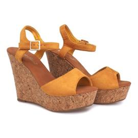 Sandały Na Koturnie Korek 5H5654 Żółty żółte 2