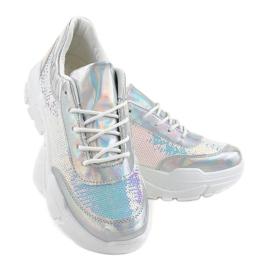Srebrne obuwie sportowe z cekinami W-3118 szare 3