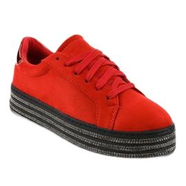 Czerwone trampki zdobione damskie G280 1
