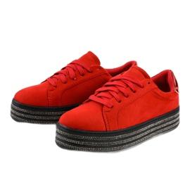 Czerwone trampki zdobione damskie G280 2