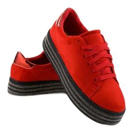 Czerwone trampki zdobione damskie G280 3