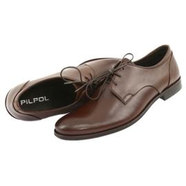 Półbuty pantofle skórzane Pilpol 1609 brąz brązowe 4