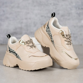 Beżowe Sneakersy VICES beżowy 4