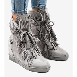Szare sneakersy na koturnie z frędzlami H6600-36 1